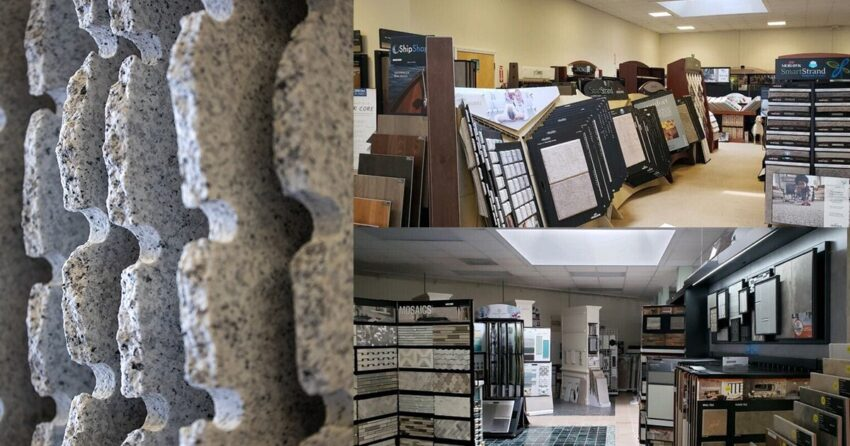 showroom and stone shop collage
